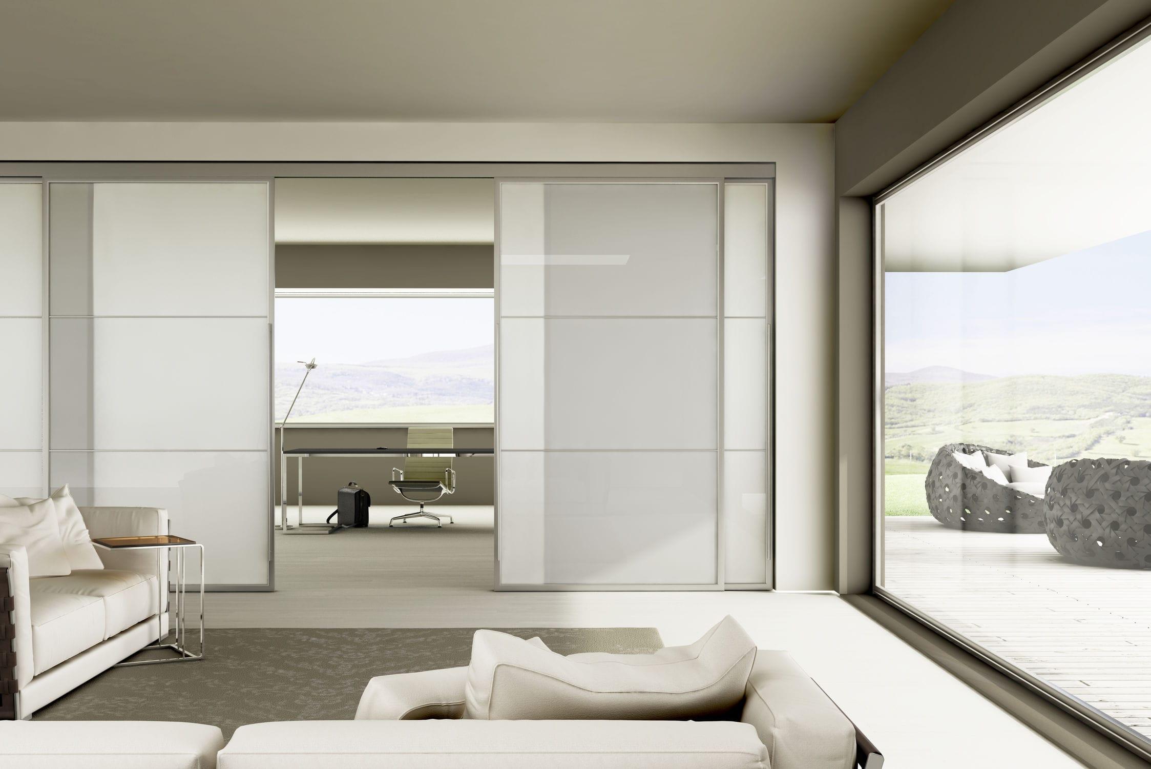 puerta de interior corredera de aluminio doble light staino u staino