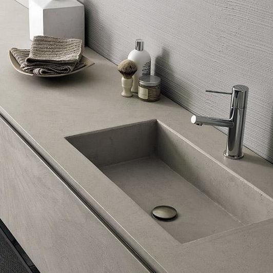 Mueble de lavabo suspendido / de cemento / moderno / con armario ...