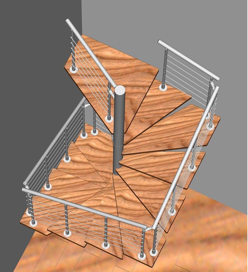 escalera de caracol cuadrada con peldaos de madera estructura de acero inoxidable sin