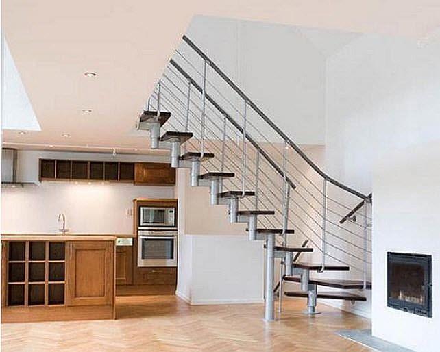 escalera en l con peldaos de madera estructura de acero inoxidable sin segment