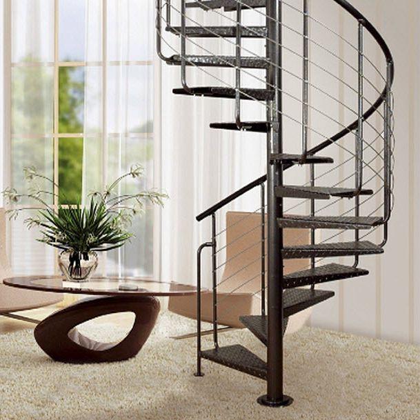 escalera de caracol con peldaos de madera estructura de metal sin heavy metal