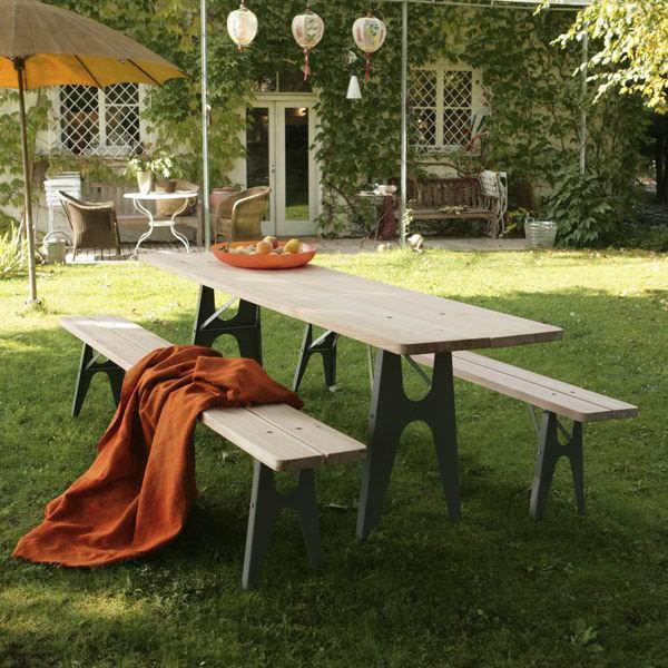 Conjunto de mesa y banco moderno / de acero / de madera / de jardín ...
