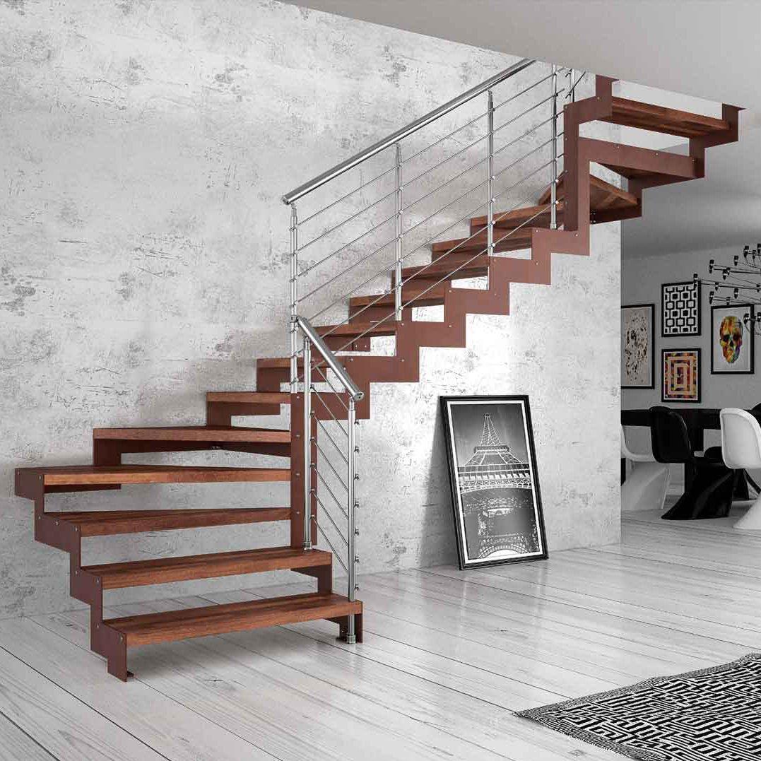 Escalera Recta En L Con Pelda Os De Madera Estructura De  ~ Materiales Para Peldaños De Escaleras Interiores