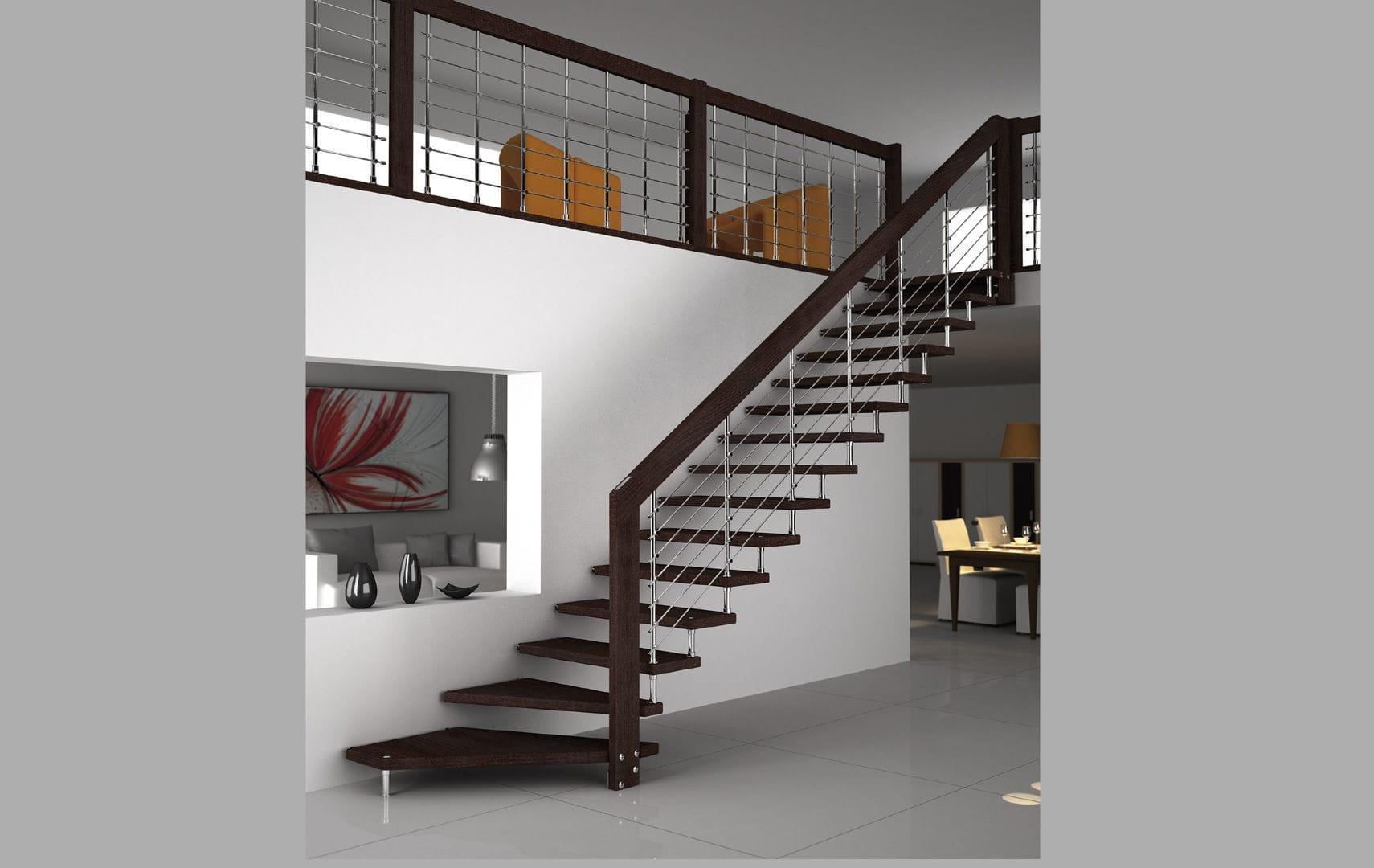 Escalera en L estructura de metal con peldaos de madera sin