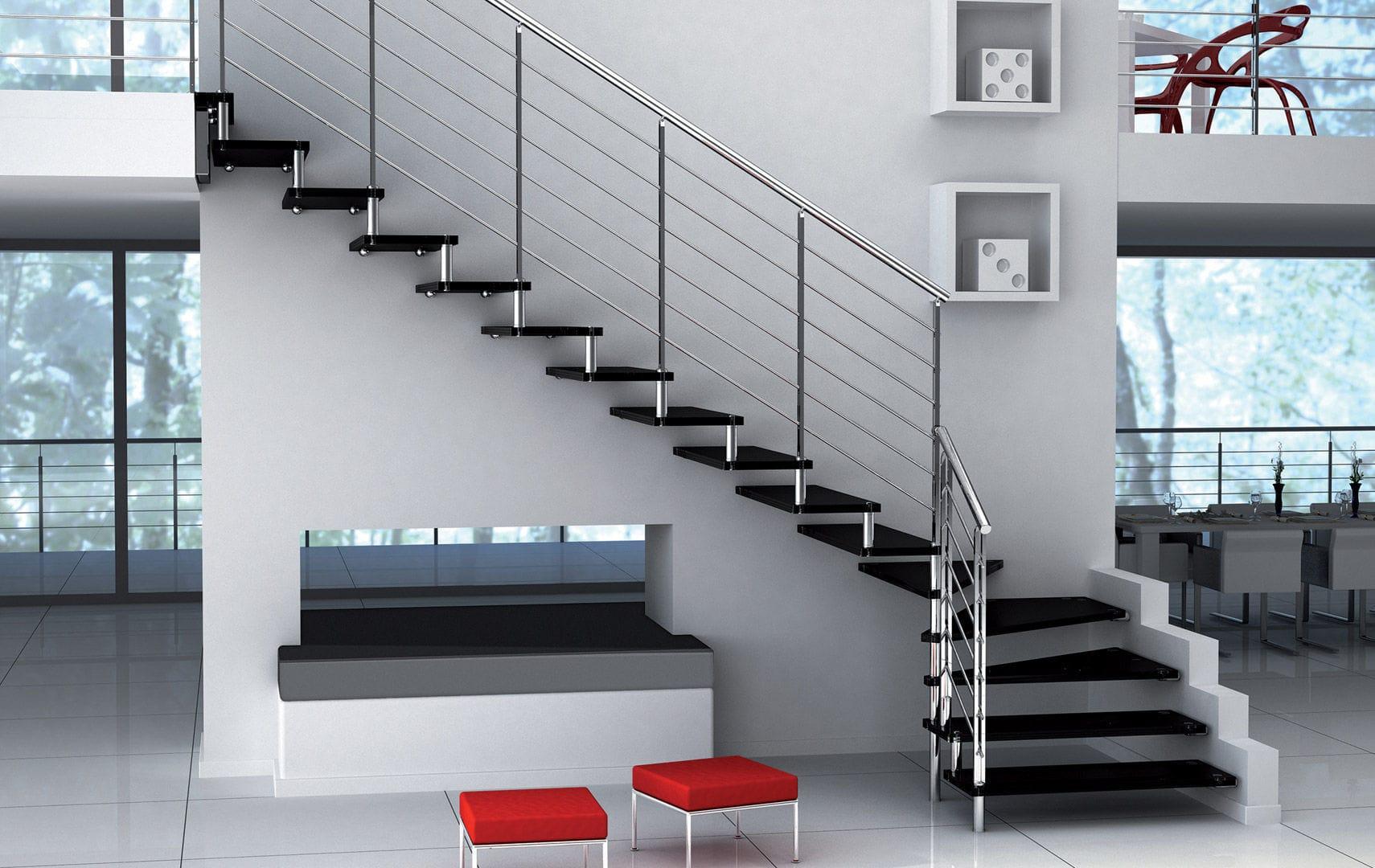 Escalera En L Con Pelda Os De Vidrio Estructura De Metal Sin  ~ Materiales Para Peldaños De Escaleras Interiores