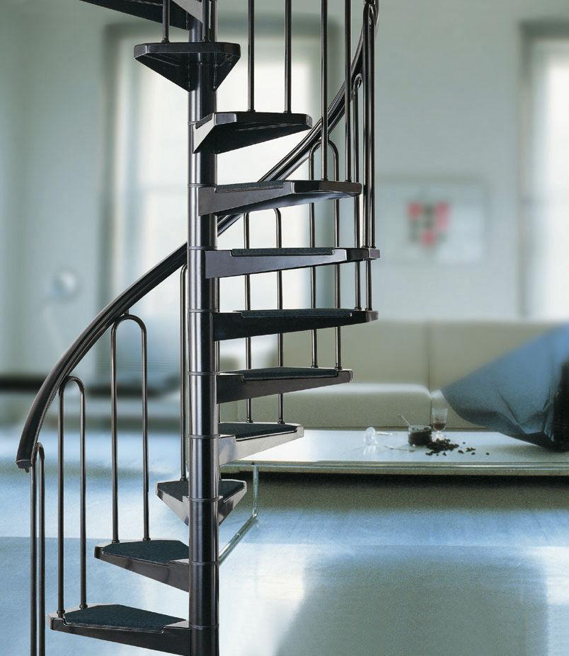 escalera de caracol con peldaos de metal estructura de metal sin af