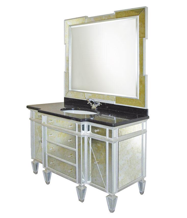mueble de lavabo de vidrio clsico con espejo hollywood