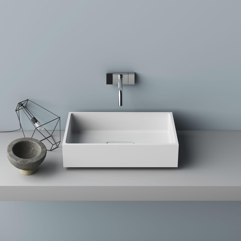 lavabo sobre encimera rectangular de corian moderno libra