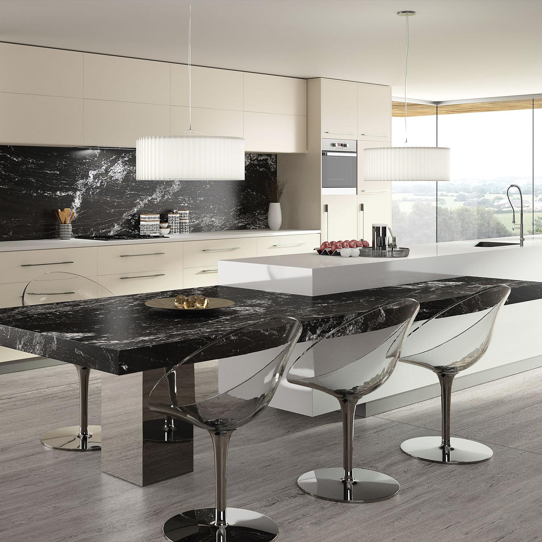 Encimera De Granito Para Cocina Blanca Negra Beauty Cosentino - Cocinas-blancas-y-negras