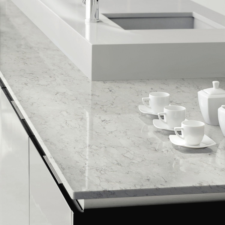 Encimera de Silestone® / de piedra natural / para cocina / blanca ...