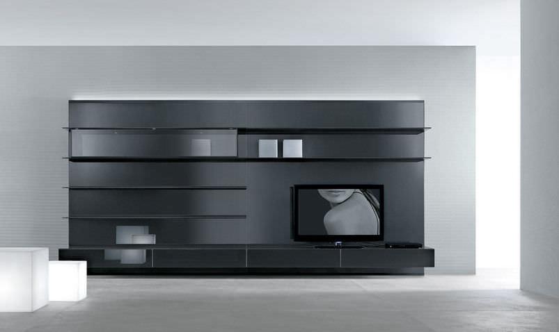 mueble tv moderno de vidrio abacus by giuseppe bavuso rimadesio