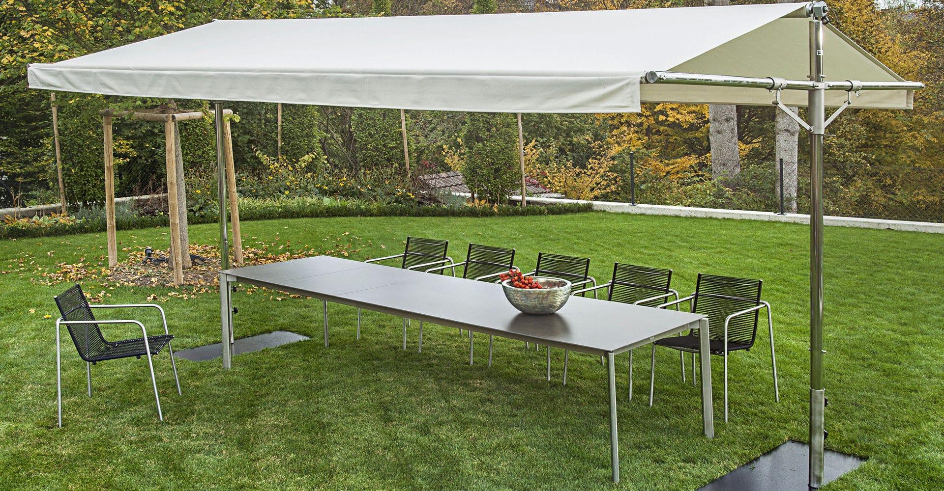 cenador de acero inoxidable de aluminio de techo de lona woodline piuma fischer mbel