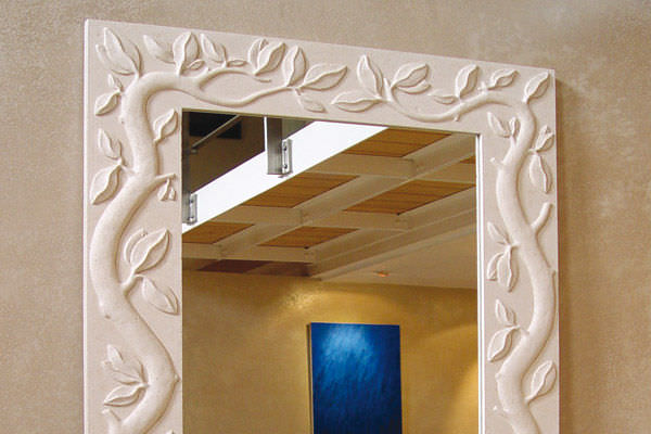Espejo para baño de pared / moderno / rectangular / de madera ...