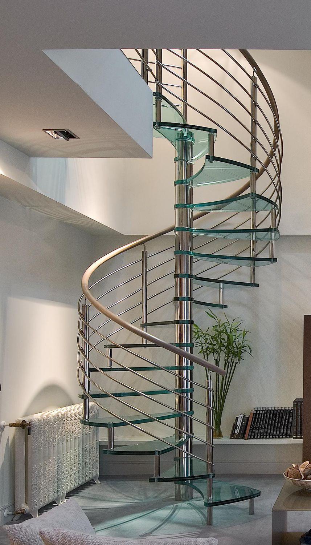 Escalera De Caracol Con Pelda Os De Vidrio Estructura De Acero  ~ Precios De Escaleras De Caracol