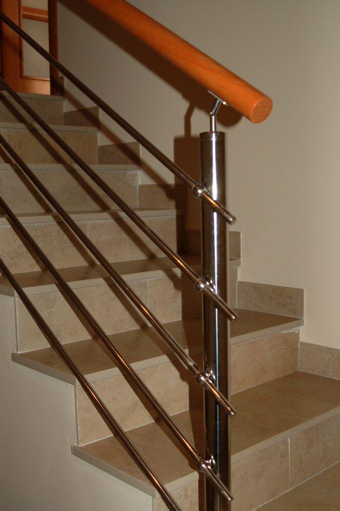 barandilla de acero inoxidable con barrotes de interior para escalera v escaleras yuste