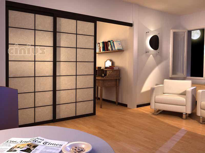 puerta de interior corredera de madera acristalada cinius