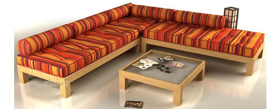 Sofa Convertible En Cama De Diseno Minimalista De Madera Maciza - Sofas-de-madera