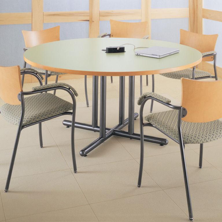 mesa de trabajo moderna de madera redonda para edificio pblico performance