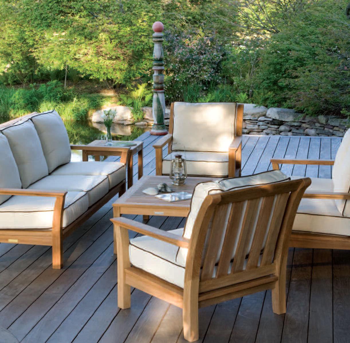 Sofá moderno / de jardín / madera / 3 plazas - CHELSEA - KINGSLEY-BATE