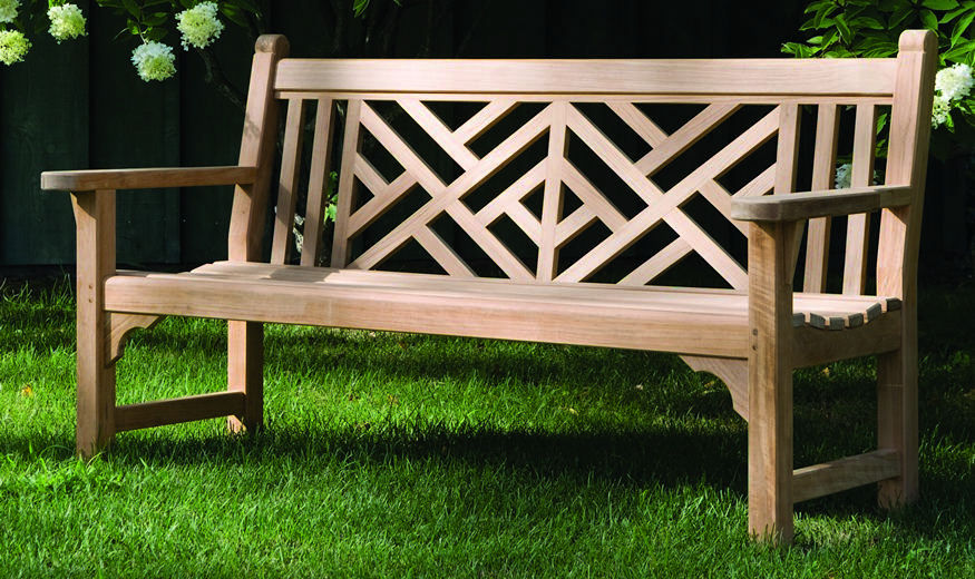 Banco de jardín / clásico / de madera / con respaldo - CHIPPENDALE ...
