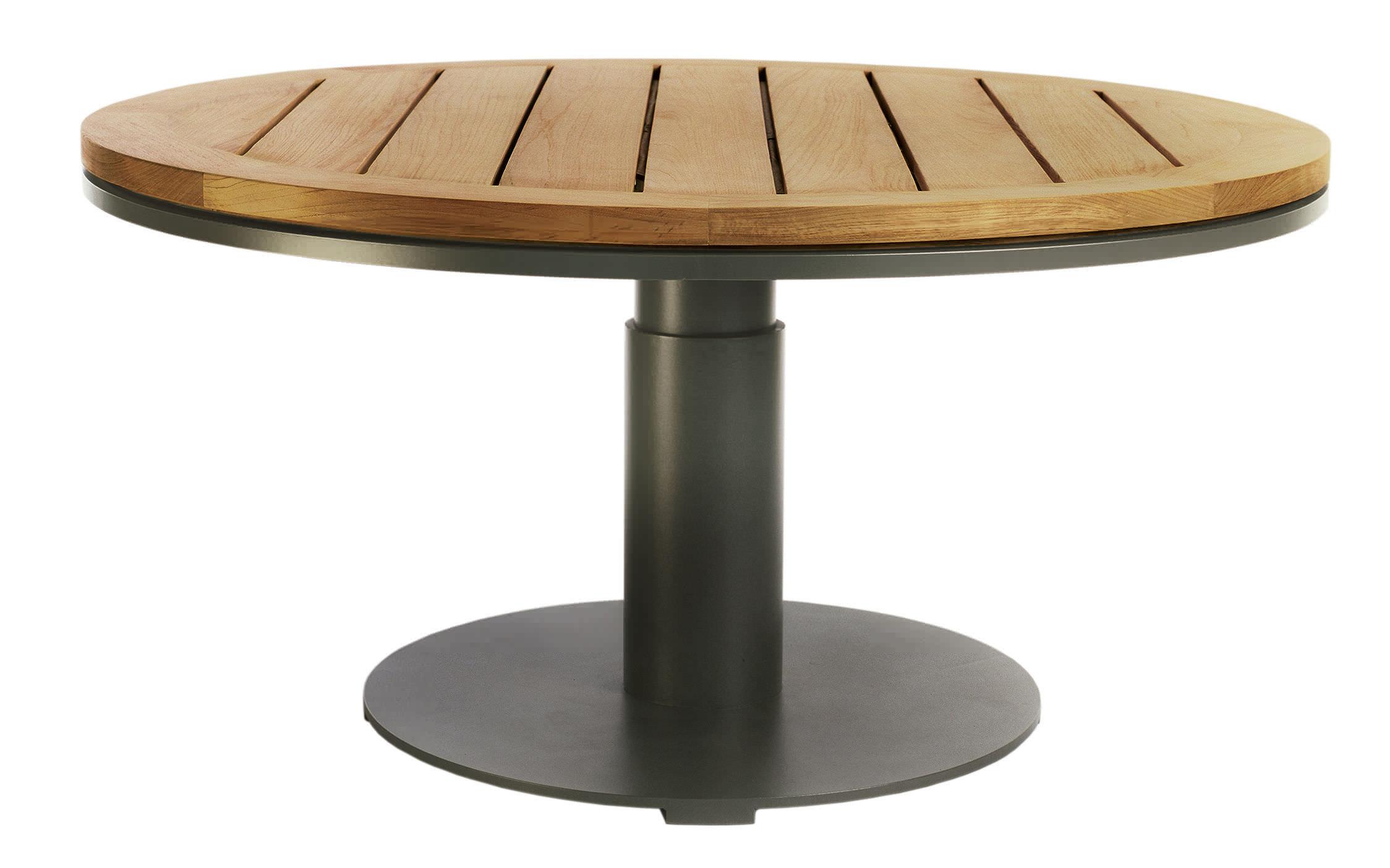mesa moderna de teca redonda para jardn peninsula by terry hunziker sutherland