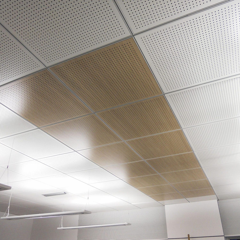 Falso techo de madera / tipo panel / en losas / acústico - 60x60 ...