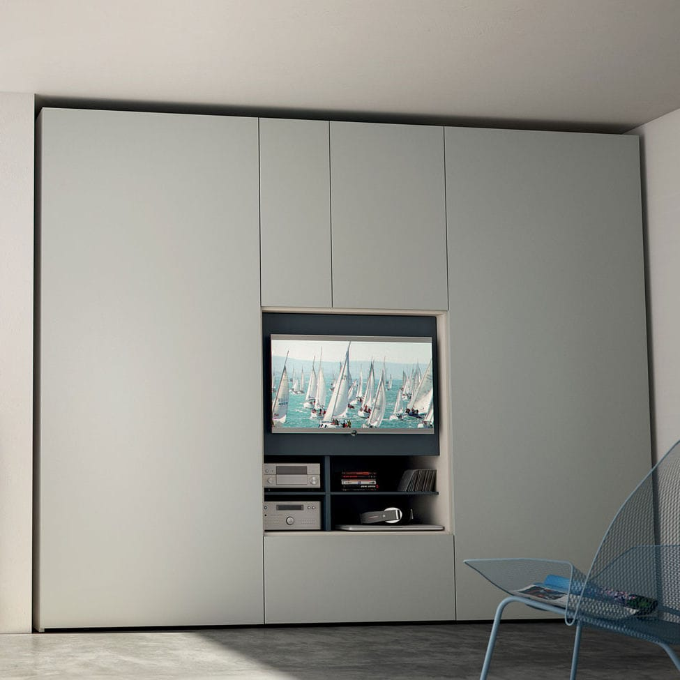 Armario moderno / de madera / con puertas plegables / con pantalla ...