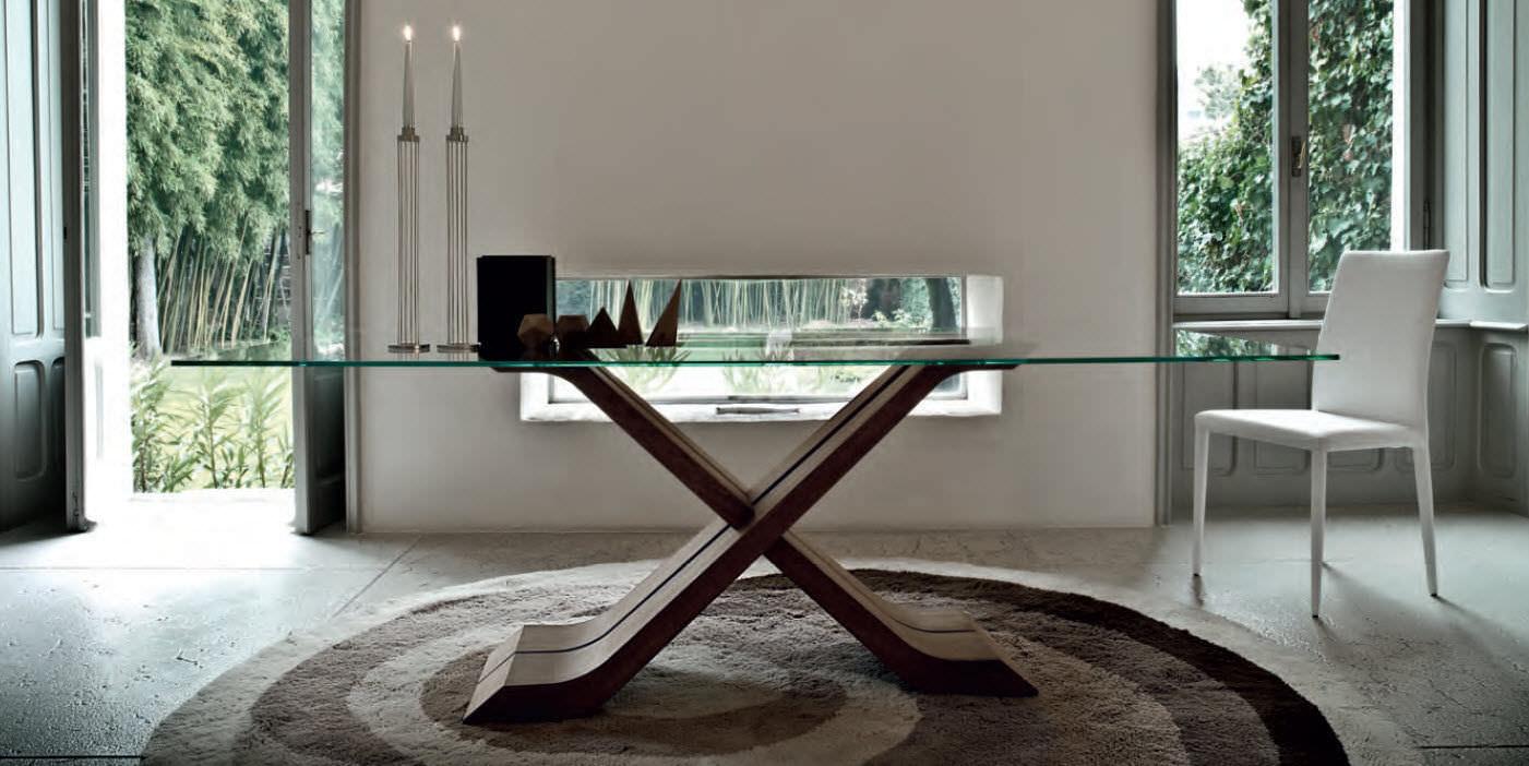 mesa de comedor moderna de madera de vidrio rectangular hector by andrea lucatello