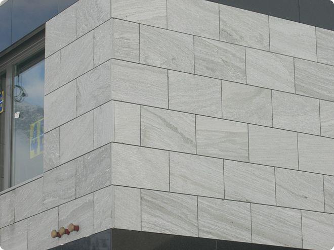 Revestimiento de fachada de piedra natural / pulido / en placas ...