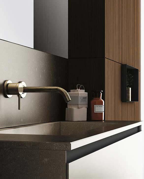 Mueble de lavabo suspendido / de mármol / de madera / moderno ...