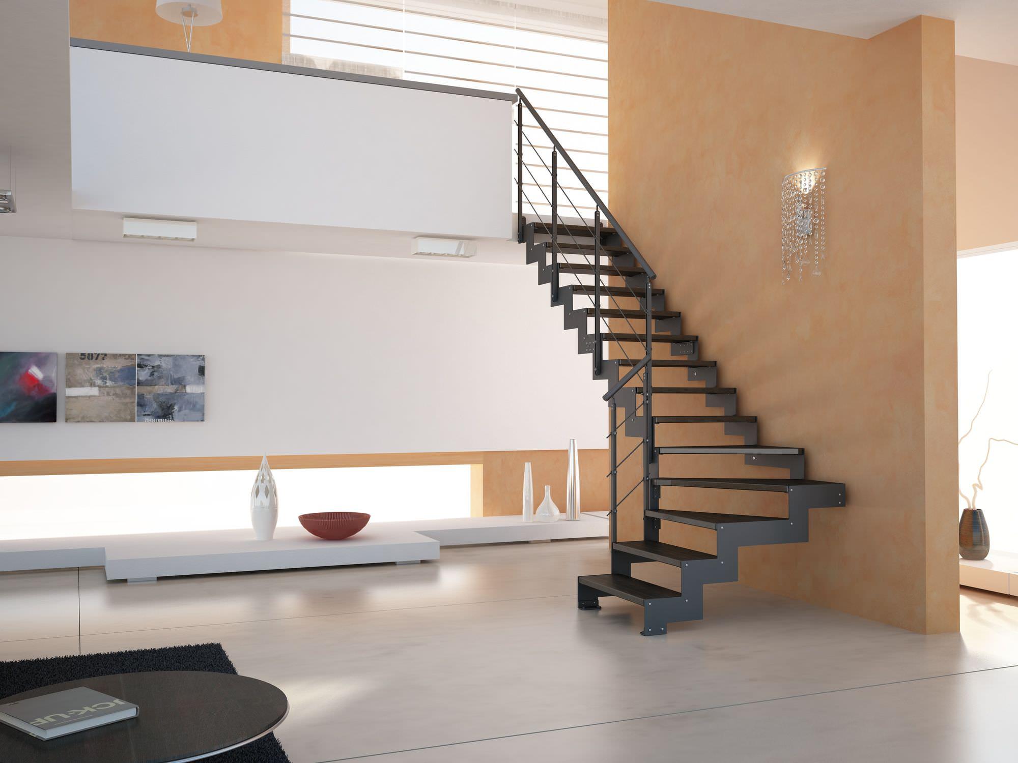 escalera en l con peldaos de madera estructura de metal sin elegance link