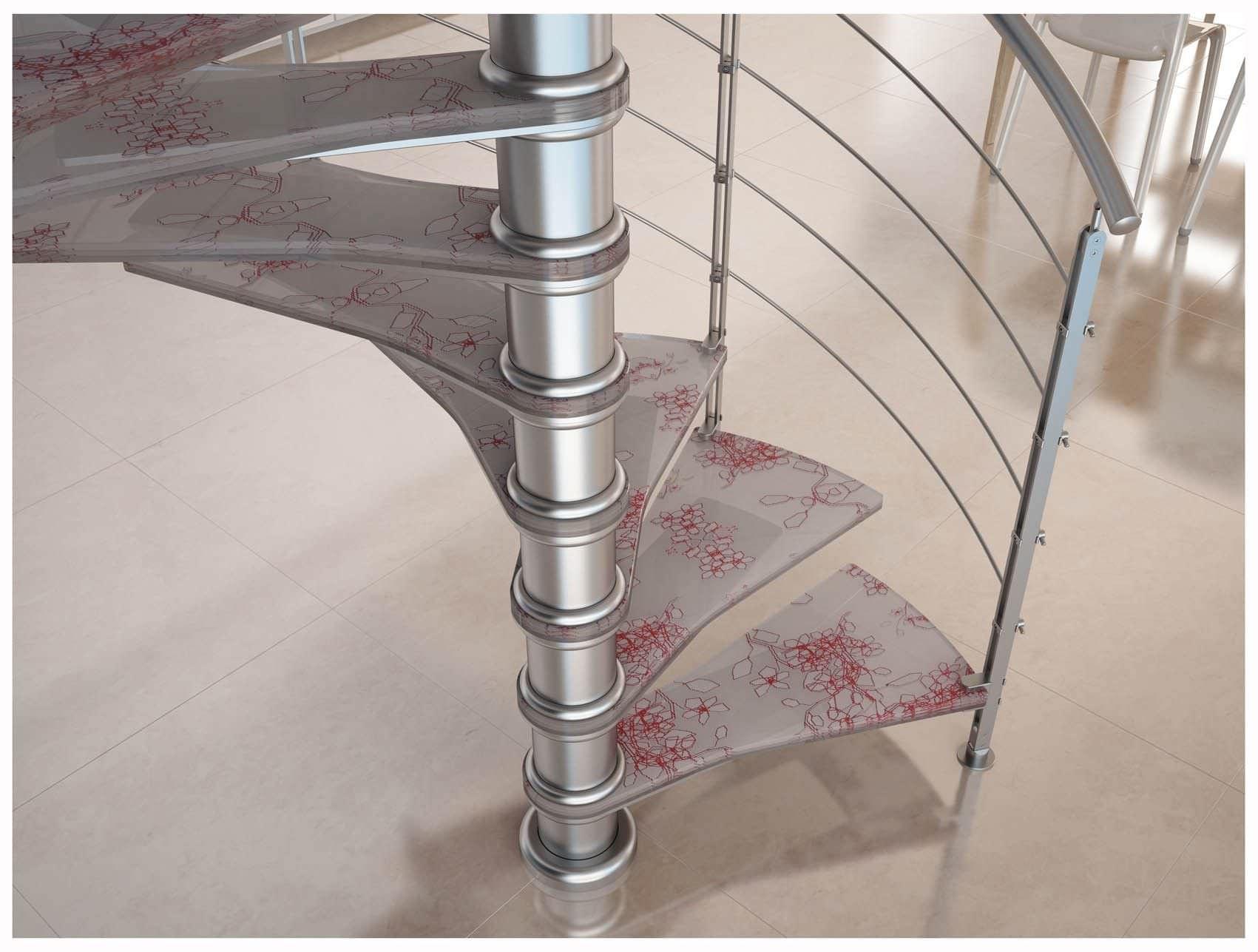 escalera de caracol con peldaos de vidrio estructura de acero inoxidable sin ice blue deko