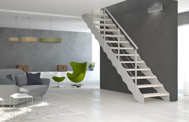 escalera recta con peldaos de madera estructura de metal sin elegance link wave