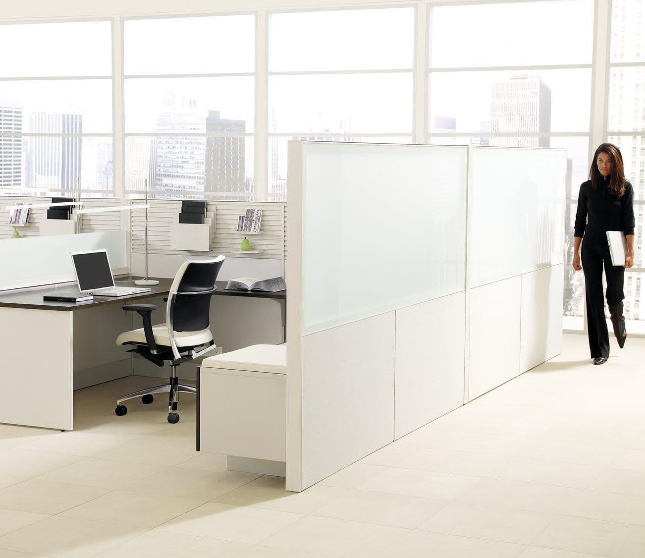 separador para oficina para suelo en encimera de vidrio de madera leverage teknion