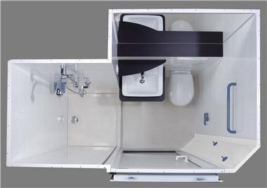 Baño moderno / de cerámica / para el sector servicios / prefabricado ...