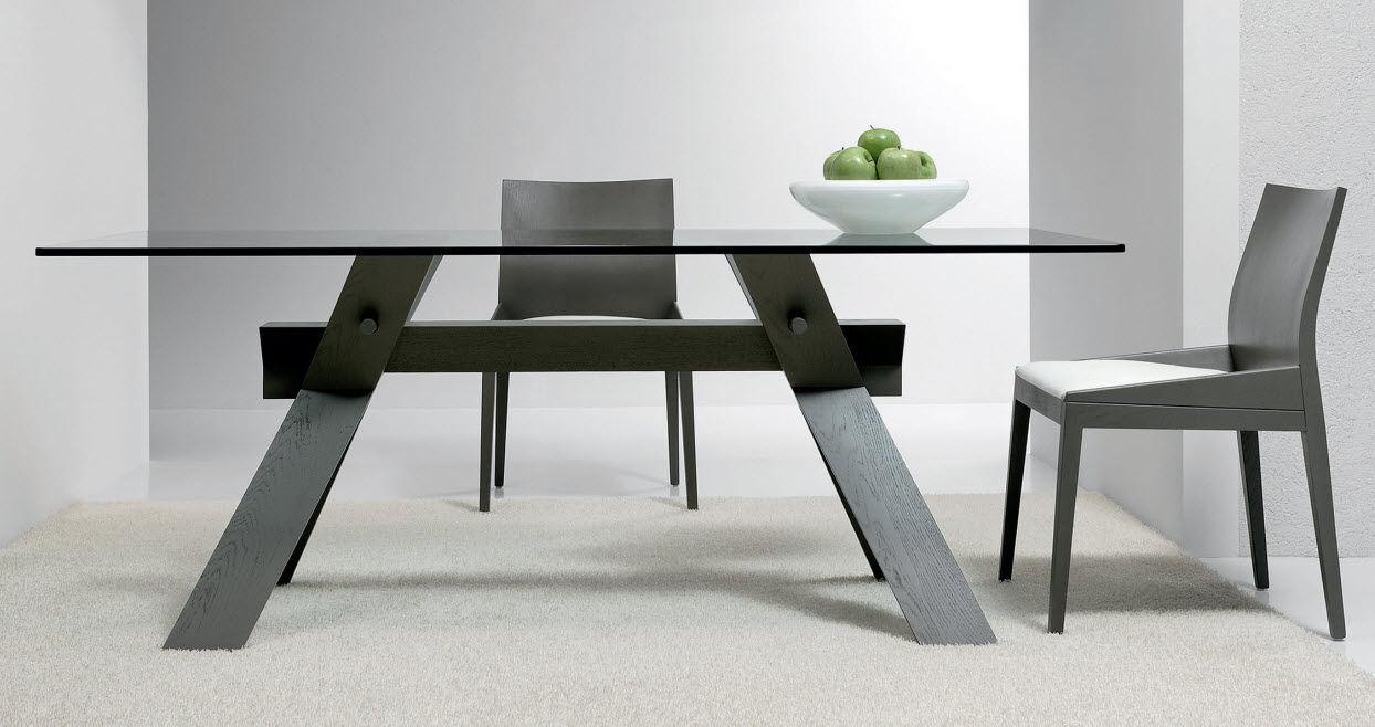 mesa moderna de vidrio de roble de nogal piana by simonit del piero