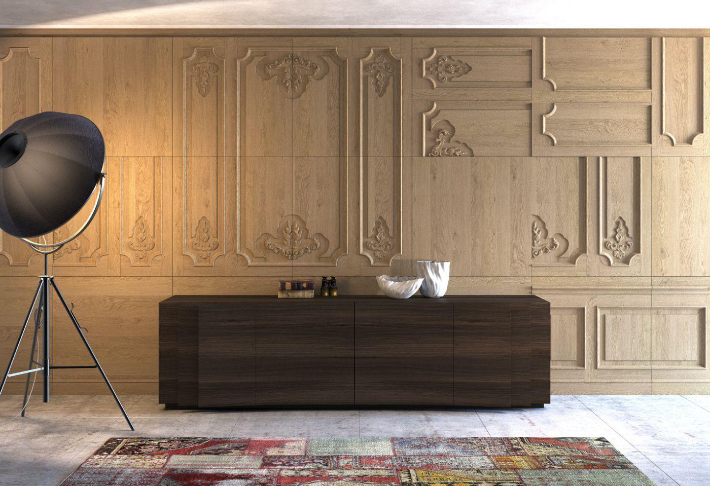 panel decorativo de madera de pared con relieve boiserie kl by ferruccio laviani