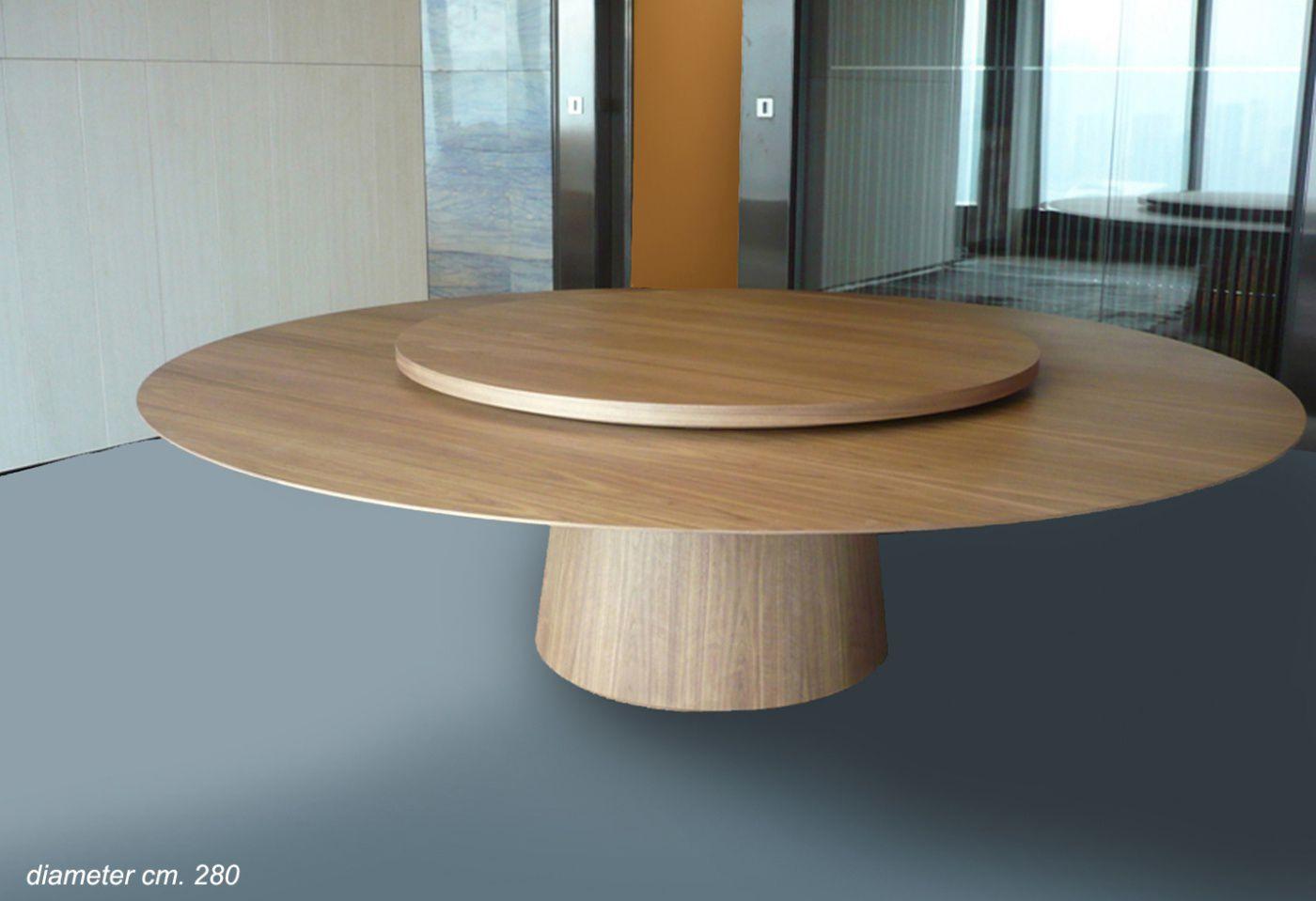 mesa moderna de madera redonda de ferruccio laviani lazy susan emmemobili tagliabue daniele