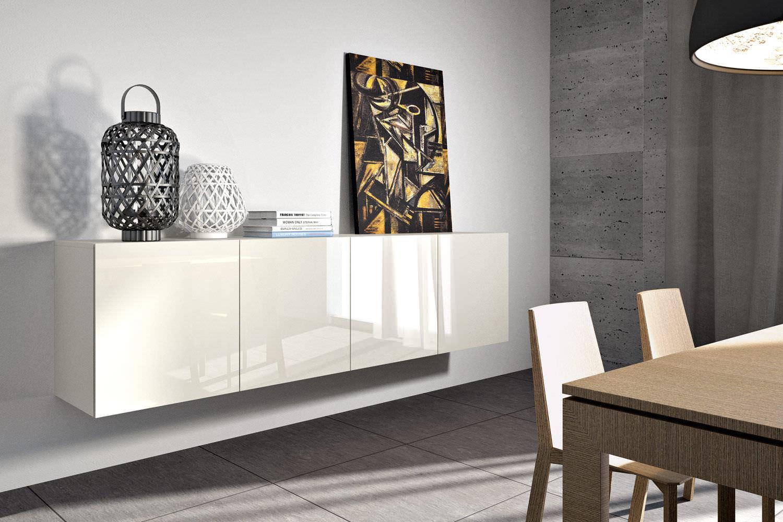 Aparador Mural Moderno De Madera De Madera Lacada Identity  # Giellesse Muebles