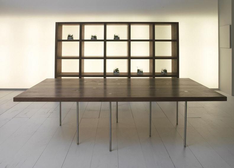 Mesa moderna / de madera maciza / de acero inoxidable ...