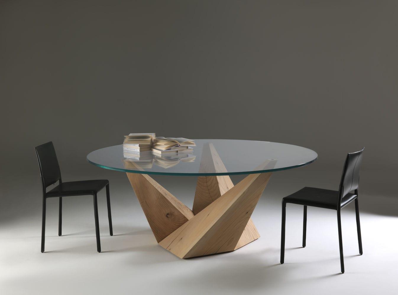 mesa de diseo original de vidrio de madera maciza de cedro peak riva