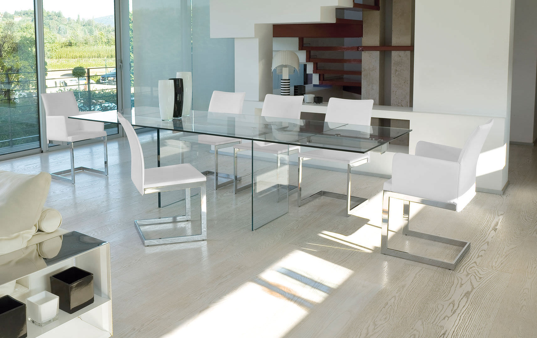 mesa de comedor moderna de vidrio de vidrio templado rectangular miami