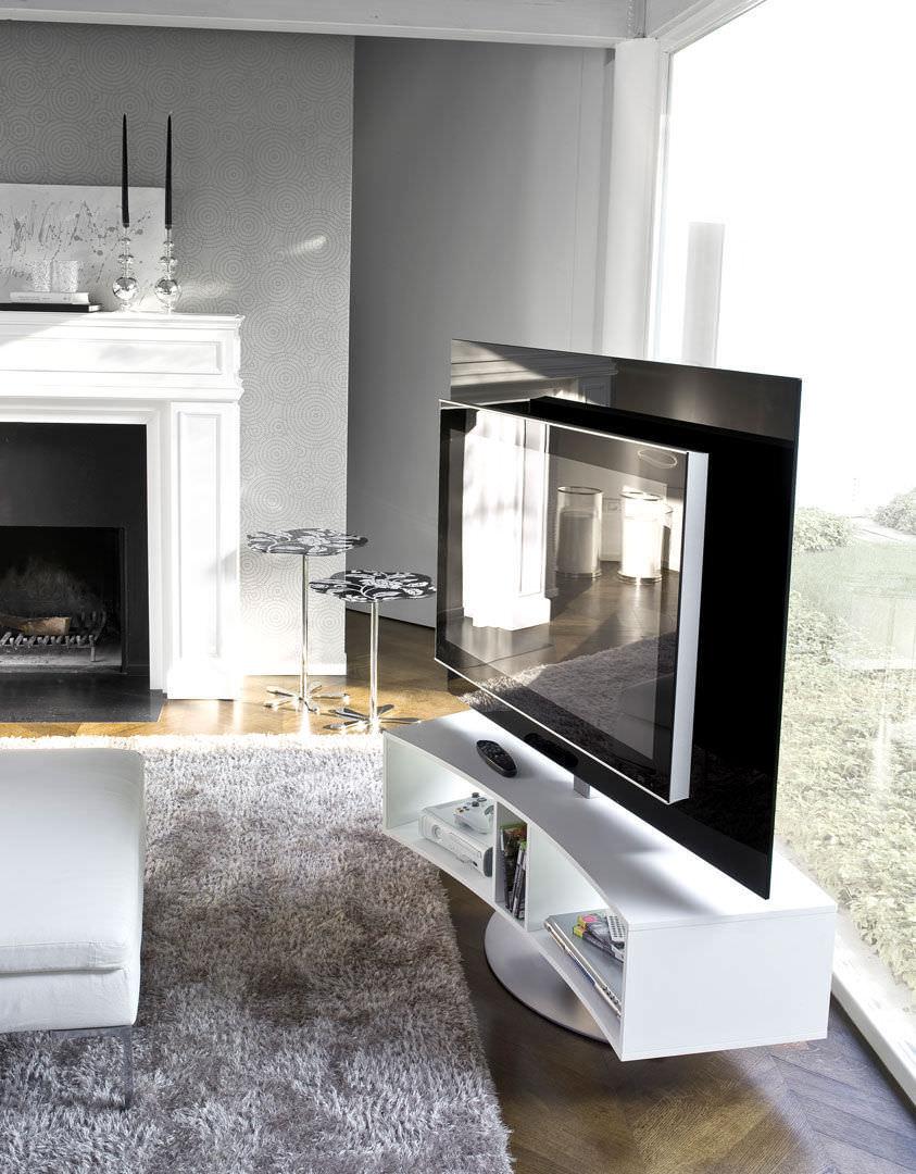 mueble de televisin de estilo moderno giratorio de madera de vidrio odeon