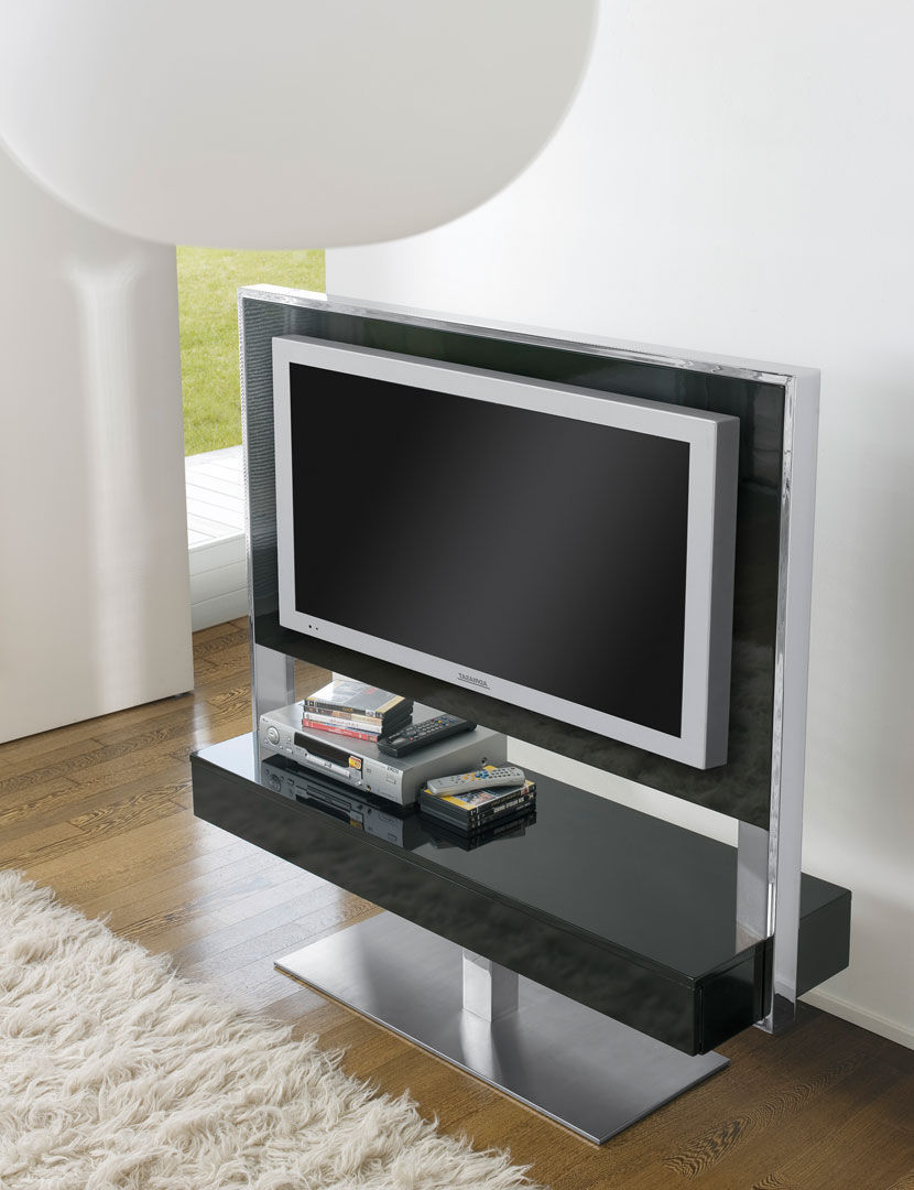 mueble de televisin de estilo moderno giratorio de acero de madera tecno
