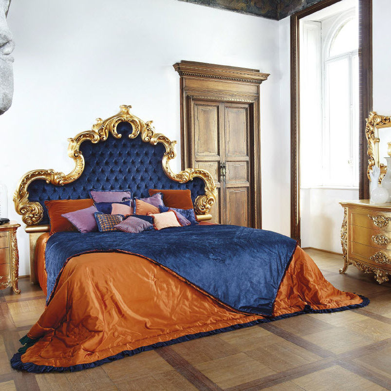 Cama estándar / de matrimonio / de diseño nuevo barroco / tapizada ...