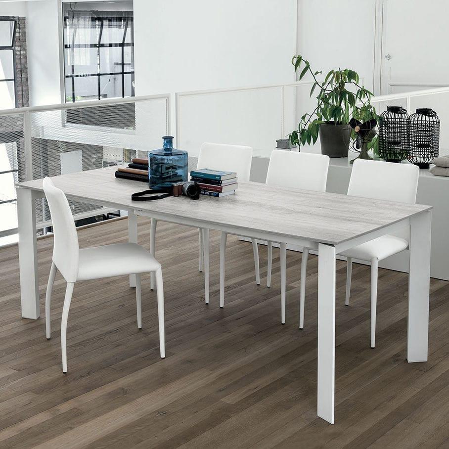 Mesa de comedor moderna / de MDF / de vidrio templado / de aluminio ...