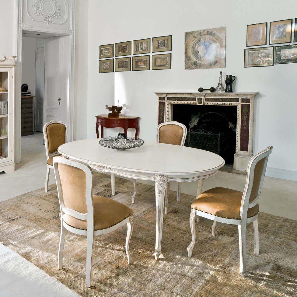 Mesa de comedor clásica / de madera / curvada / blanca - DORADO ...