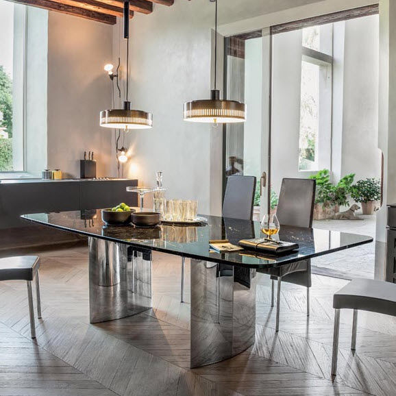 Mesa de comedor moderna / de madera / de mármol / de vidrio templado ...