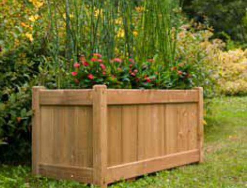 jardinera de madera rectangular clsica para espacio pblico