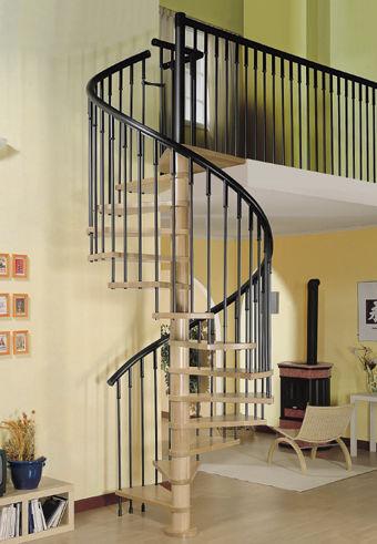 escalera de caracol con peldaos de madera sin moderna viro